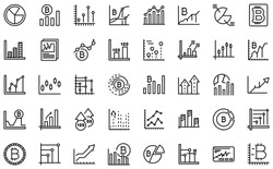 Bitcoin chart icons set. Outline set of bitcoin chart vector icons for web design isolated on white background