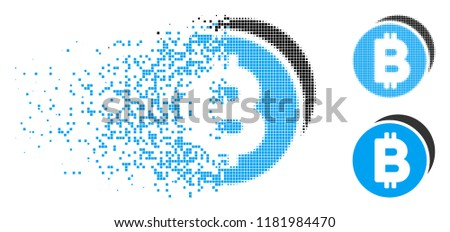 Bitcoin coins icon in dissolved, pixelated halftone and original variants. Points are grouped into vector dispersed Bitcoin coins form. Disappearing effect involves rectangular particles.