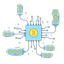 Bitcoin concept vector illustration. Digital currency or cryptocurrency for electronic payments. Bitcoin and blockchain technology flat linear style design icon.