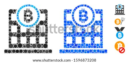 Bitcoin corporation building mosaic of small circles in variable sizes and color tones, based on Bitcoin corporation building icon. Vector random circles are composed into blue composition.