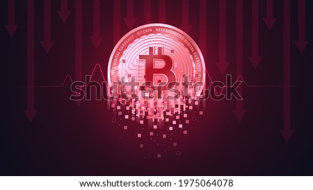 Bitcoin cracks or decay represent the Downtrend of the Bitcoin concept  Foto stock ©