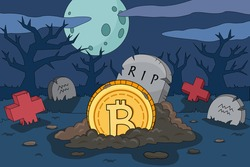 Bitcoin crash cartoon illustration. Bitcoin death gravestone. The collapse of the price of bitcoin. Bitcoin lies in a grave around red graves. Cryptocurrency bear market vector picture.
