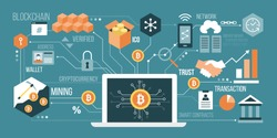 Bitcoin, cryptocurrency and blockchain technology, laptop connected to a network of concepts