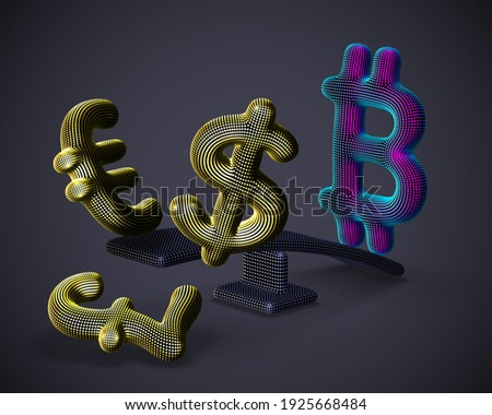 Bitcoin cryptocurrency 3D logo outweighs golden dollar, euro and pound signs on swing on gray background. Cryptocurrency value growth and stock exchange trading concept. Vector illustration, EPS 10. Stock photo ©