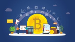 bitcoin cryptocurrency digital money business with gold coin icons and team people working together to manage finance investment - vector illustration