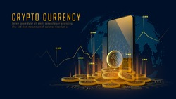 Bitcoin cryptocurrency with pile of coins come out from smartphone, Vector illustration