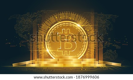 Bitcoin cryptocurrency with pile of coins, Vector illustrator
