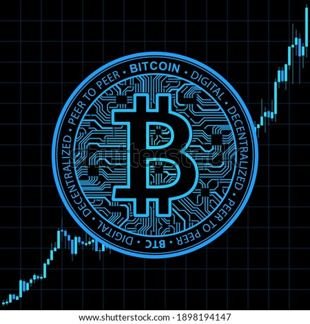 Bitcoin currency. Crypto coin with growth chart. International stock exchange. Network bitcoin marketing vector banner. Illustration of chart exchange currency crypto