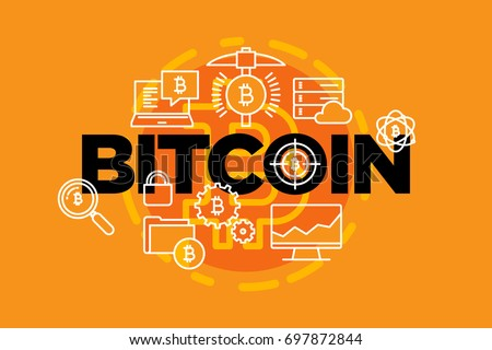 Bitcoin currency. Web banner. Vector illustration.