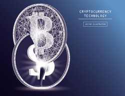 Bitcoin digital currency coin damage world finance system based on dollar concept vector illustration. Crypto currency token coins with bitcoin and dollar symbols. Blockchain cryptocurrency concept.