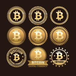 Bitcoin digital currency creative vector design elements. Stylish illustrative money badges and emblems