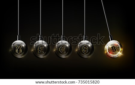 Bitcoin digital currency, dollar, euro, pound , yen and yuan in form of Newton cradle, fintech world finance concept, vector illustration