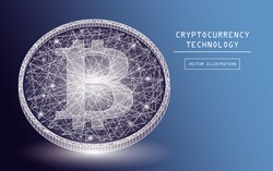 Bitcoin digital currency vector icons and symbols. Crypto currency token coins with bitcoin symbol. Peer to peer network digital payment system. Blockchain cryptocurrency concept.