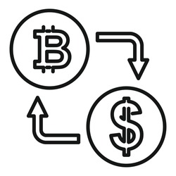 Bitcoin dollar exchange icon. Outline Bitcoin dollar exchange vector icon for web design isolated on white background
