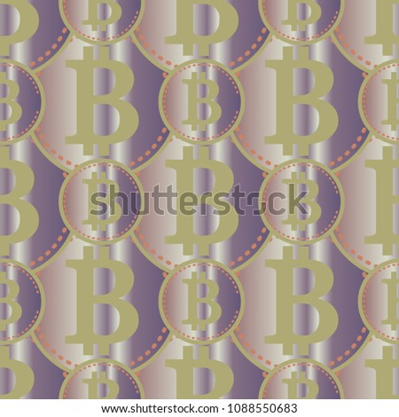 Bitcoin electronic coins seamless pattern for background.