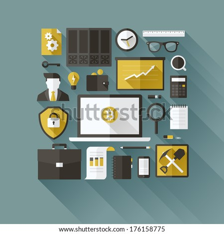 Bitcoin essentials. Modern flat vector design elements