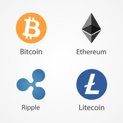 Bitcoin, Ethereum, Ripple, Litecoin coins vector icons. Cryptocurrency symbols isolated on white background.