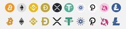 Bitcoin, Ethereum, Tether, dogecoin, Cardano, Binance Coin, Polkadot end xrp Bitcoin. vector