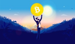 Bitcoin freedom - Hipster man with beard holding a big coin over his head in landscape. Forest mountains and blue sky in background. Crypto currency, growth, rise and winning concept. Vector.