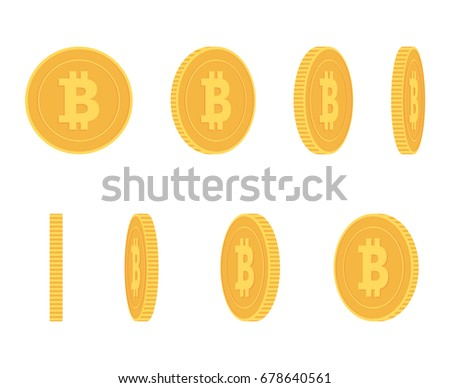 Bitcoin gold coin at different angles for animation vector set Finance money currency bitcoin illustration