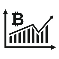 Bitcoin graph chart icon. Simple illustration of Bitcoin graph chart vector icon for web design isolated on white background