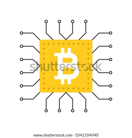 Bitcoin icon, cryptocurrency concept flat design