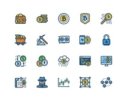 Bitcoin icon set, filled outline style