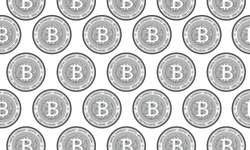 Bitcoin, internet currency silver coins seamless pattern.  Cryptocurrency, digital money pattern. Coin vector illustration.