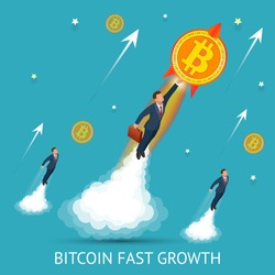 Bitcoin is fast growing. Digital currency, technology worldwide network concept. Businessman takes off with a coin bitcoin. Block chain concept