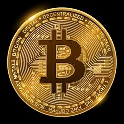 Bitcoin isolated on black, vector illustration.