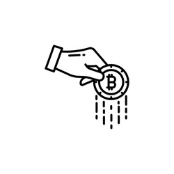 Bitcoin Line Icon Isolated On White Background