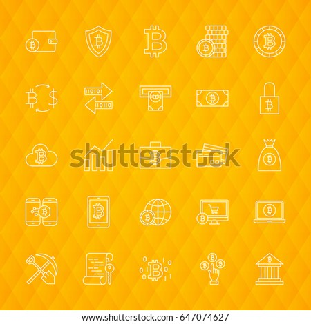 Bitcoin Line Icons. Vector Illustration of Cryptocurrency Symbols over Polygonal Background.