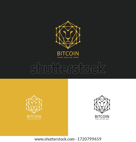 Bitcoin Logo-Logo for block chain technology. Circle with connected lines for brand of smart contract block symbol. Graphic design for decentralized transactions and cryptocurrencies network.