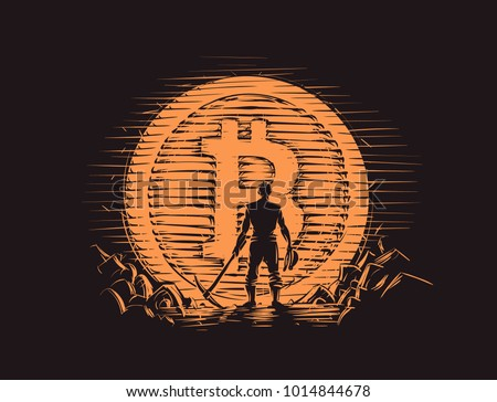 Bitcoin miner standing with pick axe near big bitcoin coin. Vector.
