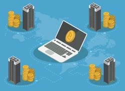 Bitcoin mining farm isometric concept 3d infographic.