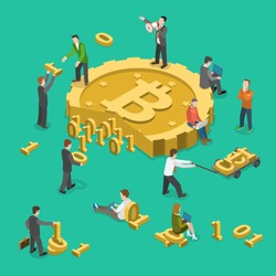Bitcoin mining flat isometric low poly vector concept. People are gathering data, represented by 0s and 1s, together to get a bitcoin.