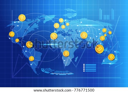 Global digital internet currency with world map design descargue bitcoin on world map money transfer concept crypto currency digital payment system vector illustration gumiabroncs Choice Image