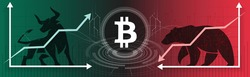 Bitcoin or BTC. Bull or Bear market trend in crypto currency or stocks. Trade exchange background, up & down arrow graphs. Bullish & bearish Cryptocurrency price & blockchain technology. Boom or crash