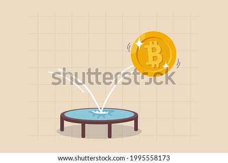 Bitcoin price rebound, crypto currency bounce back to rising up after falling down concept, golden bitcoin bounce back on the trampoline rising up on price graph. Foto d'archivio ©