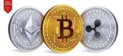 Bitcoin. Ripple. Ethereum. 3D isometric Physical coins. Digital currency. Cryptocurrency. Silver and golden coins with bitcoin, ripple and ethereum symbol on white background. Vector illustration