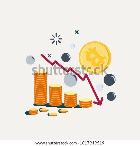 Bitcoin's Price Drops. Graph falling down. Vector Illustration.