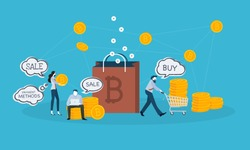 Bitcoin shopping. Flat design style web banner of blockchain technology, bitcoin, altcoins, cryptocurrency mining, finance, digital money market, cryptocoin wallet, crypto exchange.