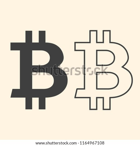 Bitcoin sign on beige background