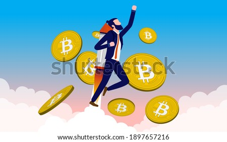 Bitcoin skyrocketing - Man with jetpack flying upwards with bitcoins in the sky. Crypto currency price and value increase concept. Vector illustration