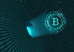 Bitcoin symbol and binary code.Concept of digital currency