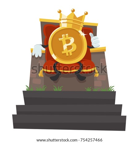 Bitcoin - The King Of All Currencies. Bitcoin With A Crown. Cartoon Style Vector Illustration.
