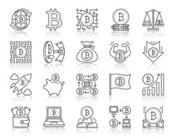 Bitcoin thin line icon set. Outline web sign kit of crypto currency. Digital money linear icons payment blockchain, chip scales, piggy bank. Simple bitcoin black contour symbol vector Illustration