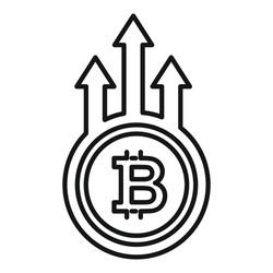 Bitcoin trade grow icon. Outline Bitcoin trade grow vector icon for web design isolated on white background