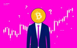 Bitcoin trader - Anonymous man with suit and coin in front of face. Trading chart in background and question marks flying around. Crypto currency, day trading and technical analysis. Illustration.