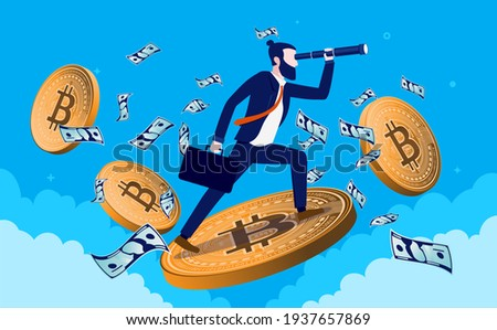 Bitcoin trader looking for opportunities - Businessman standing on flying bitcoins with binocular, analysing and looking for a good trade. Crypto currency finance concept. Vector illustration.